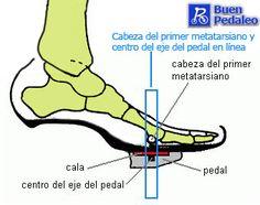 Zapatillas de ciclismo y diagrama pie de ciclismo