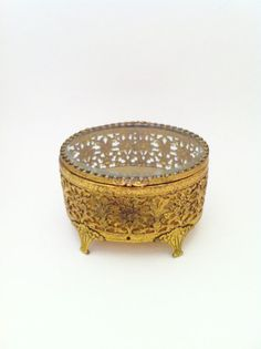 Gold Filigree Oval Jewelry Box Ornate Gold Filigree Box Gold Jewelry Box