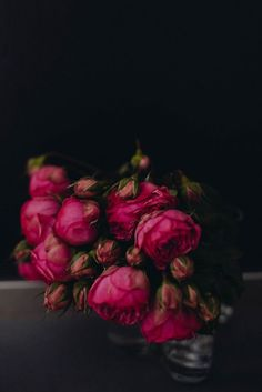 Inspired {by} Hot Pink and Black Moodiness floral flower bloom roses My Flower, Beautiful Flowers, Simply Beautiful, Dark Flowers, Romantic Flowers, Floral Flowers, Belle Image Nature, Colorful Roses, Gras
