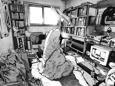 manga, monochrome and hikikomori image on We Heart It Manga Drawing, Manga Art, Manga Anime, Anime Art, Bonne Nuit Punpun, Goodnight Punpun, Ahegao, Otaku, Perspective Art