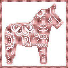 Dala Horse knit, crochet, cross stitch patterns. Swedish Christmas Yule Horse. Free PDF Downloads