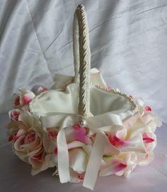 Flower Girl Basket Bridal Basket of Roses by lovelygifts on Etsy, $90.00
