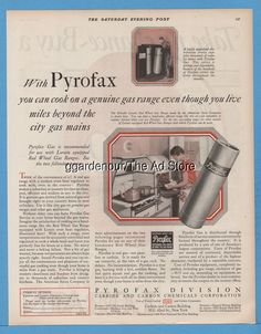 1928 Pyrofax LP Gas Cylinder Range Stove Kitchen Carbide Carbon Chemicals ad