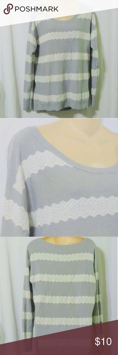 "American Eagle Outfitters Gray Lace Print Sweater ?American Eagle Outfitters sweater is done in a soft cotton acrylic blend and is a size large. It is done in a light gray with a cream lace patterned stripe. Measurements are: Bust 42"", waist 42"", length 28"". In beautiful condition! American Eagle Outfitters Sweaters Crew & Scoop Necks"