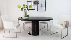 White Gloss Dining Table And 4 Chairs Homegenies. Playful Swing Table Design Adding Fun To Dining Room . Home and Family House Design, Living Room Chairs, Dining Table, Black Round Dining Table, Table, Home Decor, House Interior, Leather Dining Chairs, Dining Chairs
