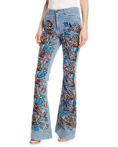 5f4b0e69f68 Beautiful Embroidered High-Rise Bell-Bottom Jeans