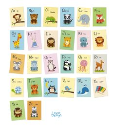 Weiteres - Tier-Alphabet Karten, ABC  - ein Designerstück von LEVARDESIGN bei DaWanda