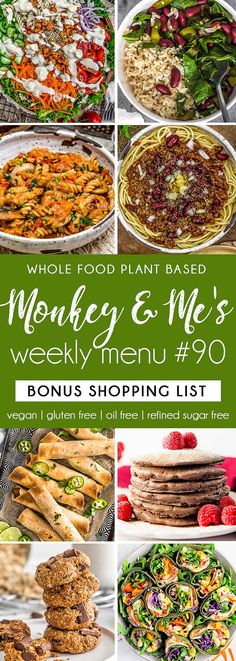 Monkey and Me's Menu 90 features delicious, wholesome recipes! All are Whole Food Plant Based Diet, vegan, oil free, refined sugar free & gluten free. Clean Eating Recipes For Dinner, Lunch Recipes, Whole Food Recipes, Vegan Recipes, Diet Recipes, Plant Based Diet, Plant Based Recipes, Slow Cooker Balsamic Chicken, Sauce Barbecue