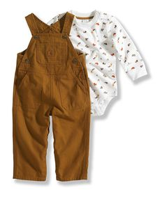 Outdoorsy little ones will adore conducting the day's adventures in this comfy yet rugged outfit. The bodysuit boasts long sleeves and loads of handy snaps while the overalls have a big front pocket for little treasures.Includes bodysuit and overalls100% cottonMachine washImported