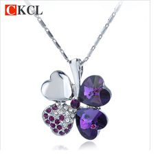 Mixture Colors Crystal Four Leaves Clover Necklace Hot Women Jewelry pendant neckalce Accessory Gift
