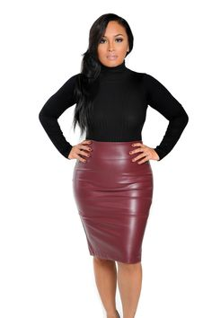 Mariota Faux Leather Pencil Skirt Burgundy - Skirts - Missguided ...