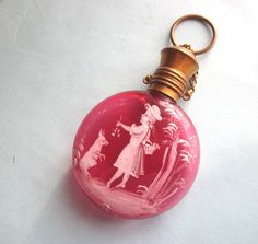 Antique cranberry glass perfume bottle Mary Gregory girl and animal Chatelaine