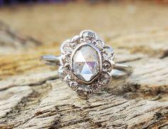 Vintage Antique 1.03ct Rose Cut Old Mine Diamond Unique Engagement Ring Platinum Art Deco Victorian by DiamondAddiction on Etsy