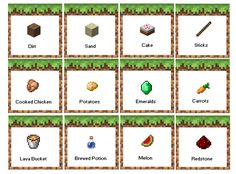 Minecraft Birthday Party Food Labels. FREE PRINTABLE! Menu based on: Dirt- Coco…
