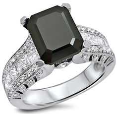 #blackdiamondengagementrings #blackdiamondgem   4.15ct Black Emerald Cut Diamond Engagement Ring 18k White Gold by Front Jewelers - See more at: http://blackdiamondgemstone.com/jewelry/wedding-anniversary/engagement-rings/415ct-black-emerald-cut-diamond-engagement-ring-18k-white-gold-com/#!prettyPhoto