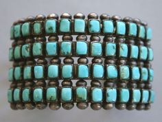 Zuni vintage sterling and turquoise cuff