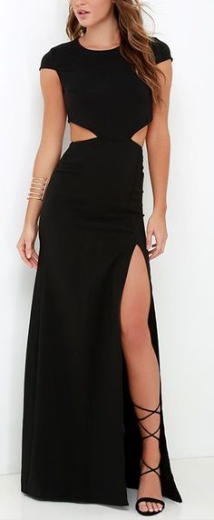 This sleek and stretchy maxi dress starts off with a rounded neckline and short sleeves, while darting adds a tailored finish to the fitted bodice. A row of buttons top the curvy open back that transitions into side cutouts, and a figure-flaunting maxi sk Backless Maxi Dresses, Prom Dresses, Maxi Skirts, Dress Prom, Maxi Gowns, Formal Dresses, Backless Jumpsuit, Dresses 2016, Graduation Dresses