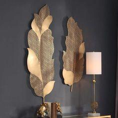 Everly Quinn 2 Piece Autumn Lace Leaf Wall Decor SetMetal in Yellow   Wayfair   Home Decor