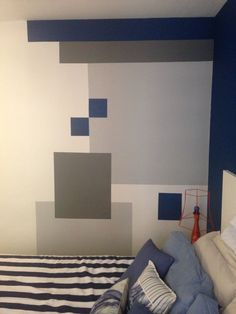 My favorite look so far for their room! Mustard/Gold, Navy-Teal, with light warm Gray as the main wall color! Bedroom Wall Designs, Boys Bedroom Decor, Diy Room Decor, Home Wall Painting, Geometric Wall Paint, Wall Paint Patterns, Room Paint, Paint Designs, Room Colors