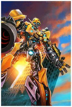 Transformers - Bumble Bee by Carlos Valenzuela * Optimus Prime Transformers, Bumblebee Transformers, Dota 2, Dota Warcraft, Dreamworks, Comic Art, Robot, Pixar, Illustration