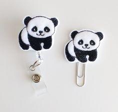 Panda Bear Feltie Paperclip  Badge Reel  ID by ShepherdSupplyCo