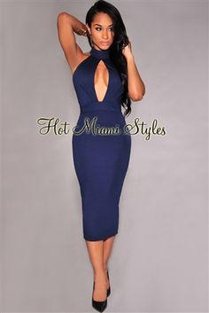 d45e6a7a1b Navy-Blue Peep-Hole Mock Neck Midi Dress. Night Outfits