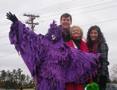 2010 Purple Martin Festival  St. Matthews, SC  Pictured with the Purple Martin are Reed Dyches, Jane Dyches (Executive director of the Chamber) and Terri Swofford (2009 recipient of a Calhoun County Chamber Scholarship)