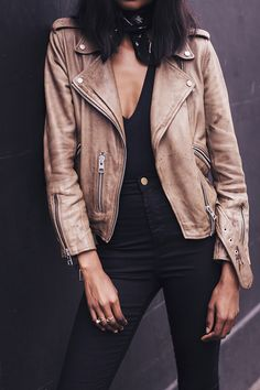 neutral leather jacket | Harper and Harley