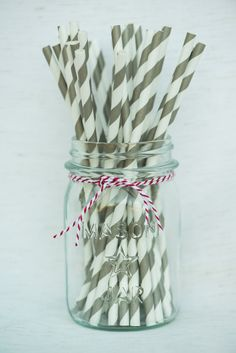 Pewter Gray Striped Straws by HooplaEvents on Etsy, $4