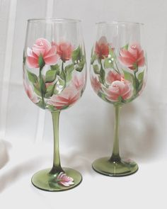 Hand Painted Wine Glasses Set of 2 Coral by SilkEleganceFlorals