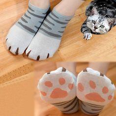 Grey/Yellow Kawaii Neko Cat Socks SP167141
