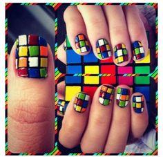 Rubrics cube nails! Woohoo nerdology :)