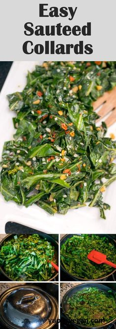 Easy, super garlicky sauteed collard greens, just 15 minutes of prep and 15 minutes of cooking!