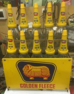A nice original Golden Fleece Duo motor oil bottle rack in great condition Bottle Rack, Oil Bottle, Pedal Cars, Grease, Tins, Vintage Ads, Motocross, Engine, Nostalgia