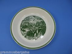 """Pie Plate Currier and Ives Christmas Snow 10"""" Green and White Winter Holiday"""