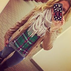 plaid top, taupe scarf. green jeans or regular, taupe booties, green earrings