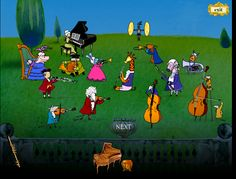 An awesome free online game to teach kids about musical instruments. Listen to the sound and guess what instrument makes it. When you get it right, a new member will join the orchestra. And there's a surprise at the end!