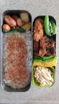 2017.4.27 チキンカツ おから 卵焼き 茹でスナップえんどう ウインナー&ポテト揚げ