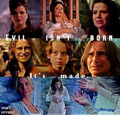 Evil Isn't Born, It's Made. That and everyone-EVERYONE- has a sin nature; no matter how 'good' the person is. Abc Tv Shows, Best Tv Shows, Best Shows Ever, Favorite Tv Shows, Movies And Tv Shows, Once Upon A Time, Between Two Worlds, Robert Carlyle, Outlaw Queen