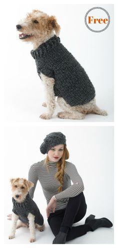 The Poet Dog Sweater Free Crochet Pattern #freecrochetpatterns #crochetforpet #dogcoats
