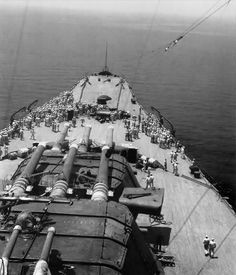 Foredeck of 72000 ton, 18 in battleship Yamato, giving some idea of her colossal size.