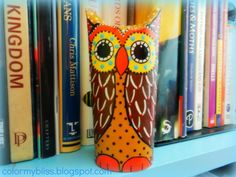 Color My Bliss: Toilet Paper Owls are Fun to Make! #Owls #craft #color