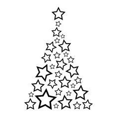 Vinilo barato para escaparate de tiendas de un arbol de estrellas para decoración de navidad