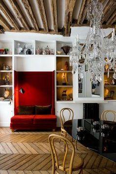 BELLE VIVIR -Decorating Ideas, Interior Design Inspirations and Fashion Latest. Modern Interior Design, Interior Design Inspiration, Interior Exterior, Interior Architecture, Chevron Floor, Red Sofa, Velvet Couch, Ivy House, Design Blogs