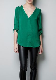 Green Rivet V-neck Long Sleeve Chiffon Blouse