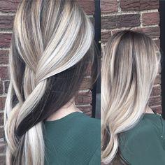 Blonde balayage, icy blonde hair, blonde hair, dark underneath!