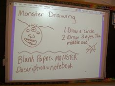 Descriptive Writing Activity - Students draw a monster. Then they write exactly how their drawings look using details. Finally, their partner draws their monster without looking at the original. Great starting point for a descriptive writing unit!