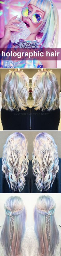 LOVE! ❤️ ❤️ Holographic hair. How to do it? What is it? ~~ Holo hair coloring is the hottest new hair color trend. Soft candy pastel color with metallic holographic glow - silver, grey, purple, pink, blue, teal, green | CircleTrest ❤️