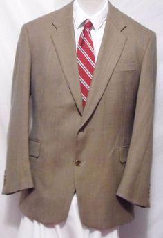 Evan Picone Tan VTG Wool 3 Button Plaid Sport Coat Size 46R  #EvanPicone #ThreeButton