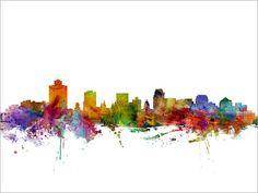 Salt Lake City Skyline Utah Cityscape Art Print 1250 by artPause